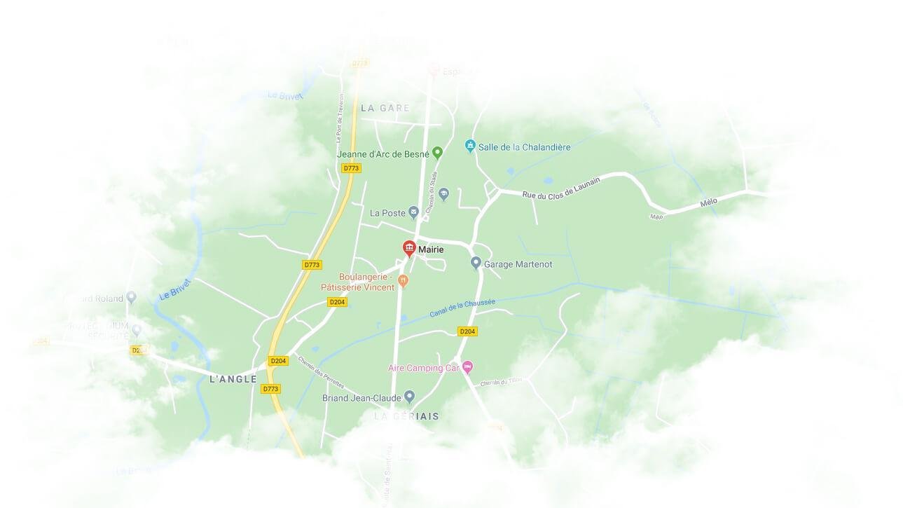 Carte de localisation de la ville de Besné